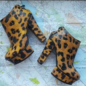 LF Leopard Print Heeled Booties, Sz 40